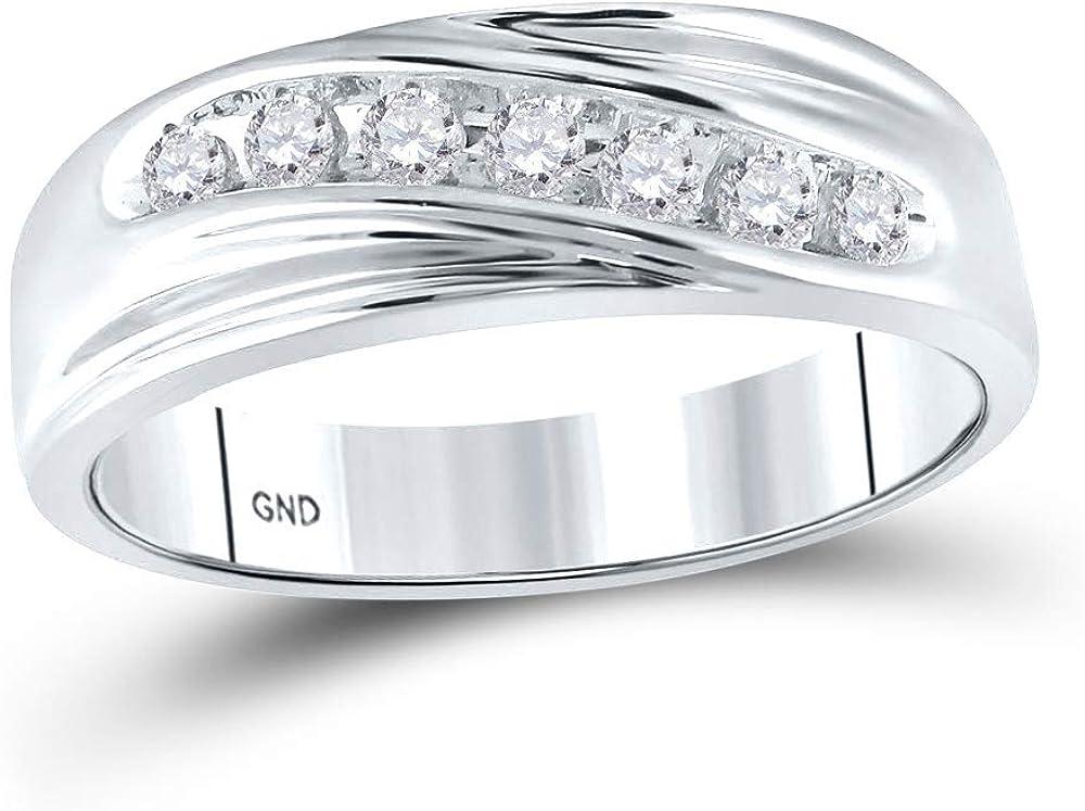 10K White Gold Mens Round Diamond Band 保証 [宅送] Wedding Row 1 Single Ring
