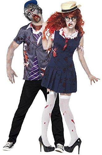 Fancy Me Paar Herren Damen-Zombie nichtbeförderung Schule College Uniform Halloween Verkleidung Outfit - Blau, Ladies UK 8-10 & Mens Large