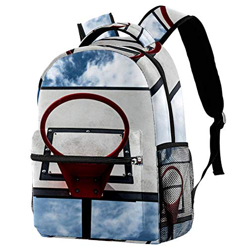 School Bag Blue Sky Basketball Hoop Backpack Unisex Daypack Casual 29.4x20x40cm