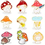 9 Pieces Mushroom Enamel Pin Brooches Mushroom Brooches Cute Cartoon Mushroom Alloy Brooch Guitar Cat Frog Hedgehog Animal Plant Portable Piano Pattern Lapel Badge Brooch Pins for Backpack Clothes Hat