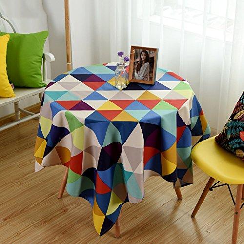 Europees tafelkleed Linnen Tafelkleed, Snoep Kleuren Katoen Tafelkleed Geometrie Driehoek Ronde Koffie Tafelkleed