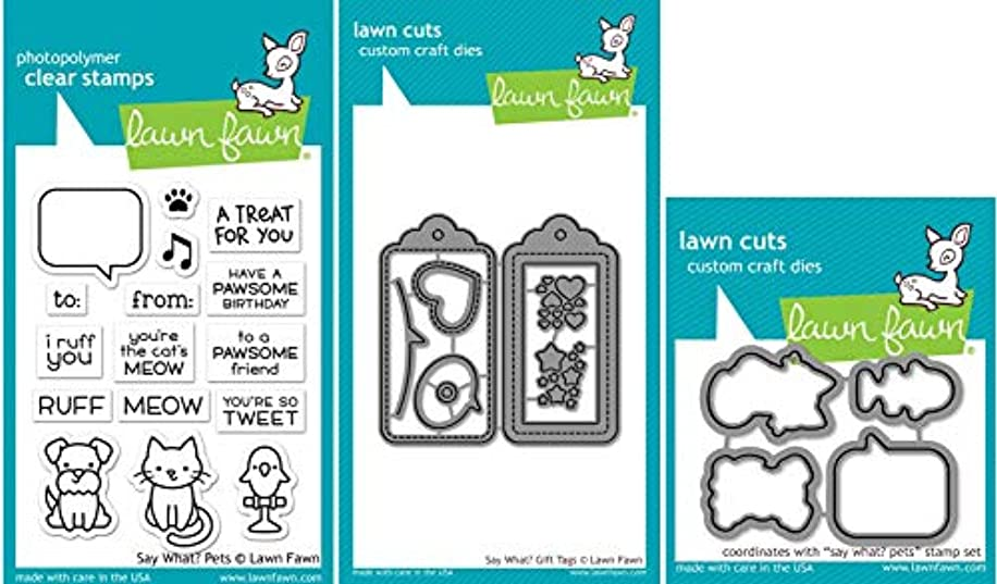 Lawn Fawn - Say What? Pets Stamp and Die Sets with Say What Gift Tag Dies - 3 Items