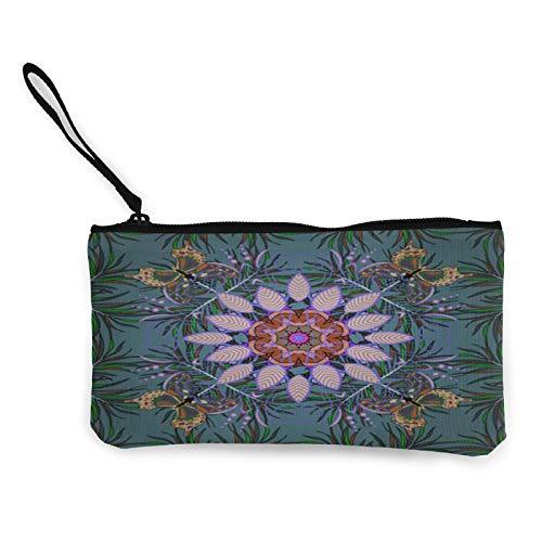 Moneda de lona, bolso abstracto de color con cremallera, bolsa de cosméticos de viaje multifunción, bolsa de maquillaje para teléfono móvil, bolsa de lápiz con asa