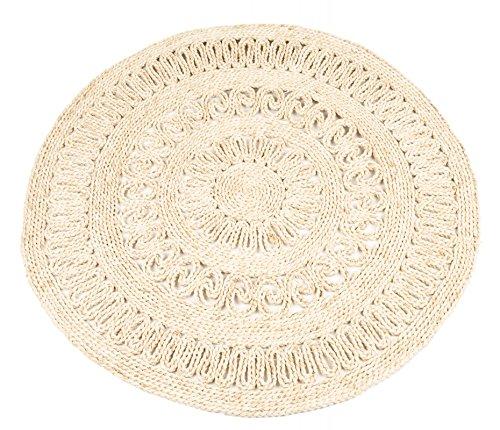 NaDeco Strohteppich mit Muster, Durchmesser 90cm, rund Naturteppich Naturfaserteppich Strohteppich aus Maisstroh Maisstrohteppich Stroh Teppich Maisstroh Teppich Boho Teppich Wandteppich