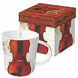 Paperproducts Design Decorative Bone China Mug Gift Box Set - Tabletop Kitchen Décor for Beverages, Hot, Cold Drinks, Tea ? Artistic Designs, Decorated Mugs ? 13.5 Ounces, Concerto Violino Design
