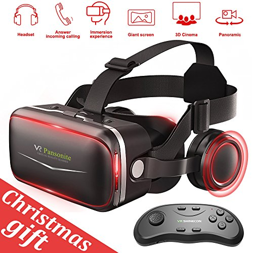 Pansonite 3D VR Glasses Virtual Reality Headset- More Comfortable and Lighter For VR Games and 3D Movie with Adjustable Focal and Pupil Distance, Fit For IOS / Android Smartphones