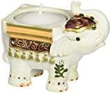 FASHIONCRAFT 8652 Good Luck Elephant Candle Holders, White