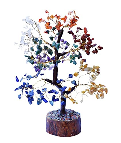 Seven Chakra Tree Handmade Feng Shui Bonsai Money Buddha Statue Good Luck Reiki Healing Spiritual Gift For Friend Home Décor Wealth Prosperity Crystals And Gemstones Chakras Stones 10-12 inch