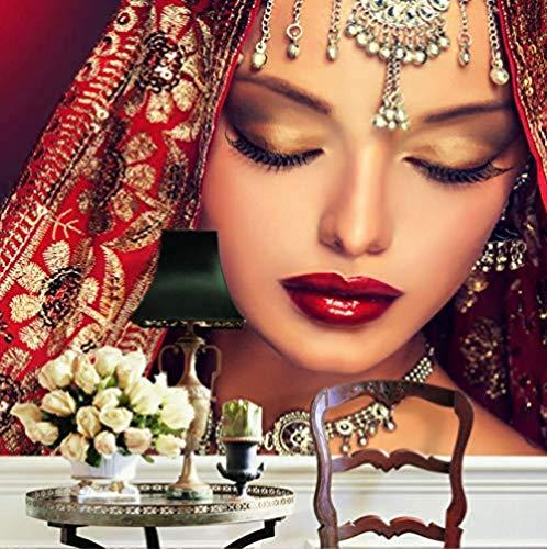 Wandbild,Wandbilder,Indische Frauen Tapete Benutzerdefinierte 3D-Foto Tapete Wandbild Schlafzimmer Make-up Shop Wohnzimmer TV Hintergrund Wall Room Decor-250cmx175cm