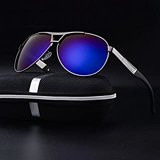 TT WARE Mens Summer HD Polarized Sunglasses Vintage Outdoors Anti-UV Driving Goggle-Blue