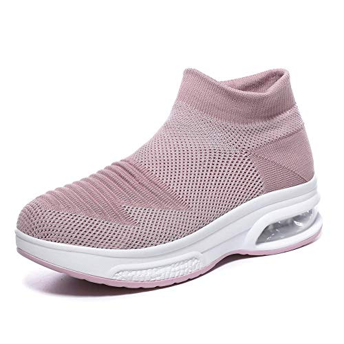 Women's Slip-on Walking Shoes - Air Cushion Mesh Casual Work Nursing Shoes Easy Fashion Sneakers Tennis Shoes Lace-up Pink,9 B(M) US