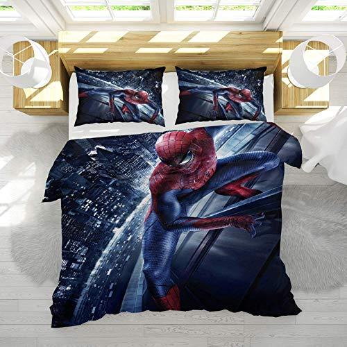 GD-SJK Parure de lit - 3D - Imprimée Spiderman - Draps - Taie d'oreiller - 3pièces - Fermeture éclair - Garçon - Adolescent - 135 x 200cm - Coton/renforcé