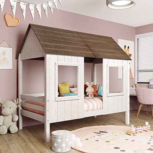 House Bed for Kids,Low Loft Bed Frames Twin Size,Wood Toddler House Bed with Two Front Windows and Roof for Kids/Teens/Girls/Boys,White