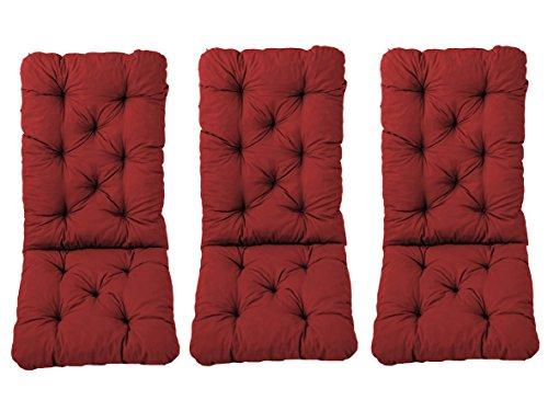 Ambientehome Juego de 3Cojines para Respaldo Alto, Aprox. 120x 50x 8cm, Respaldo de Aprox. 70cm, Cojines Acolchados, Rojo