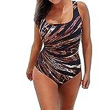 YCQUE Puls Size Elegant Sexy Damen Sommer Gedruckt Leopard Gestreiftes Einteiliges Push Up Gepolsterte Bikini Badeanzug Bademode Bodys Mid Taille -