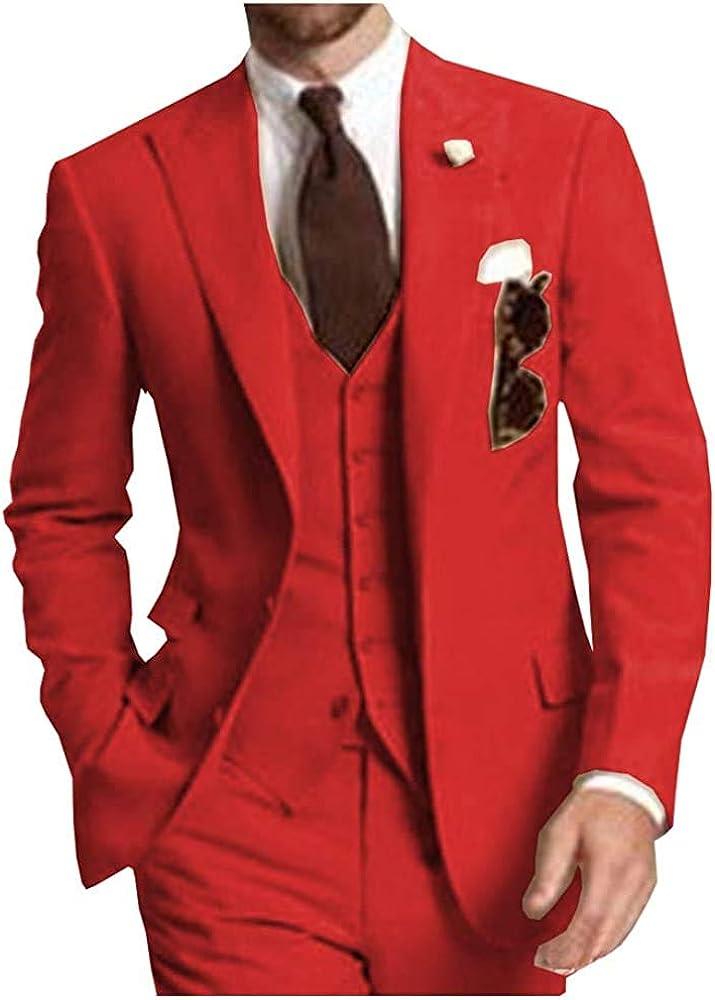 Men's Suits 3 Piece Tuxedos Slim Fit Casual Separates-Custom Shawl Lapel Prom Groomsmen (Blazer+Pants+Vest)