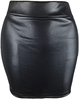 JUSSON Women's Short Skirt Matte Faux Leather Sexy Bag Hip Skirt