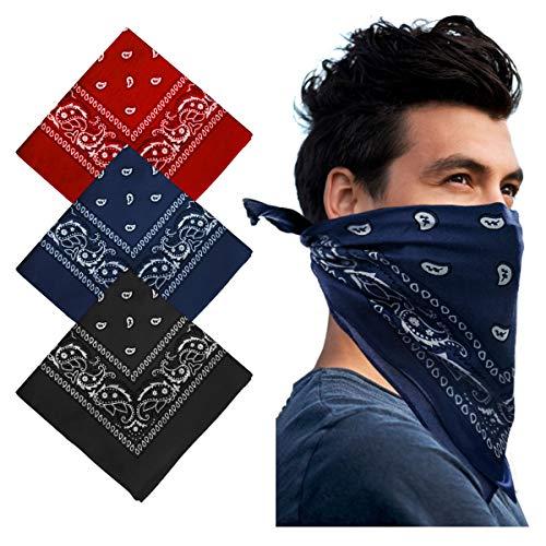 YAKASU Bandana Kopftuch Halstuch - Paisley Stirnbänder 100% Baumwolle Haar Schal Nickituch Vierecktuch mit Cashew Muster für Damen und Herren 55 x 55 cm