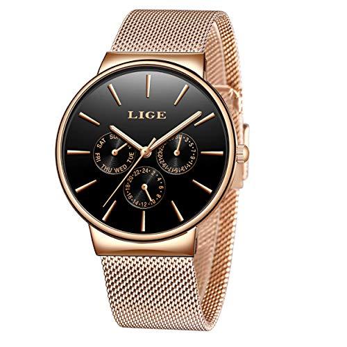 LIGE Relojes para Hombre Cronógrafo Impermeable Cuarzo Analógico Prueba Agua Vestido Moda Negocios Deportivos Relojes para Hombre