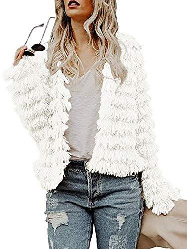 Womens Open Front Faux Fur Cardigan Vintage Parka Shaggy Jacket Coat White