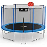 Kangaroo Hoppers 12 FT Trampoline with Safety Enclosure Net, Basketball Hoop and Ladder...
