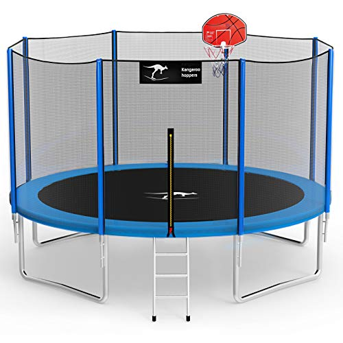 Kangaroo Hoppers 12 FT Trampoline with Safety Enclosure Net, Basketball Hoop and Ladder -2021 Upgraded Kids Basketball Hoop Trampoline TUV & ASTM Tested -Multiple Color Choices(BLUE-12FT)