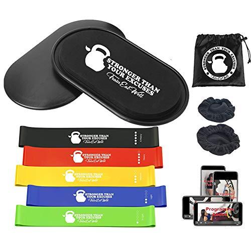 kit sport maison core sliders disque de glisse mini bande de resistance elastique fitness musculation homme femme accessoire yoga Pilates matériel gym band équipement muscu perte de poids