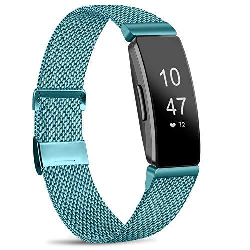 Amzpas Kompatible Für Inspire Armband/Inspire HR Armband, Metall Edelstahl Ersatzarmband mit Magnetverschluss für Inspire/Inspire HR (07 Blau, S)