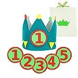 Corona Cumpleaños y Fiestas Niño de 1-5 Años. Diseñada y Fabricada en España + Números 1 al 5 + Bolsa de Algodón para Corona y Números. Confeccionada con Material Suave y consistente.