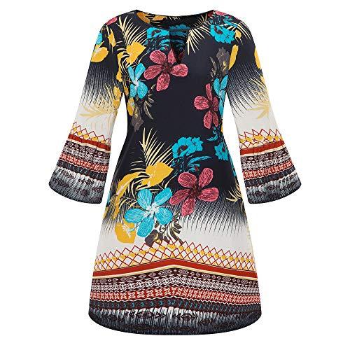iHENGH Damen Frühling Sommer Rock Bequem Lässig Mode Kleider Frauen Röcke Große Größe Frauen Casual Langarm Minikleid Abend Partykleid(Marine, L)