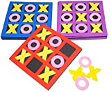 4E's Novelty Tic Tac Toe Bulk 24 Pcs, 5' x 5' Foam Tic-Tac-Toe Mini Board Game for Kids - for Birthday Party Favors, Goody Bag Fillers, End of Year Gifts for Students