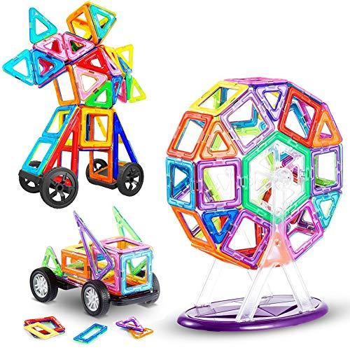 LIVEHITOP 116 Piezas Bloques de Construcción Magnéticos – 3D Juego Imanes Juguete Educativo Creativo Cumpleaños Regalo Reyes Magos para Niños y Niñas más 3 Años