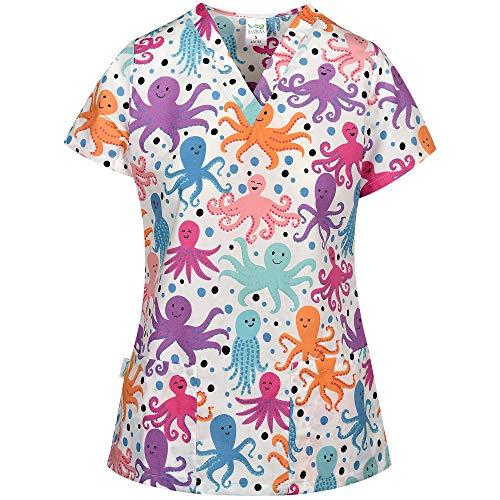 DINOZAVR Bambina Uniforme Sanitario Camisa Médica con Cuello en Y para Mujeres - Pulpo XS
