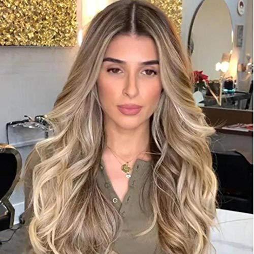 Cheveux longs blonds bouclés ondulés, 65cm, cheveux artificiels, fibre synthétique haute température, perruque pour les femmes pour faire la fête et robe quotidienne