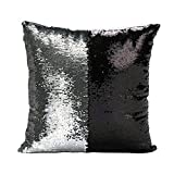Freestyle Reversible Color Change Sequin Throw Pillow Cases Covers in Two-Tone, Classic Black and Silver, 16x16, Creative Decorations on Sofas/ Armchairs/ Beds/ Floors/ Cars
