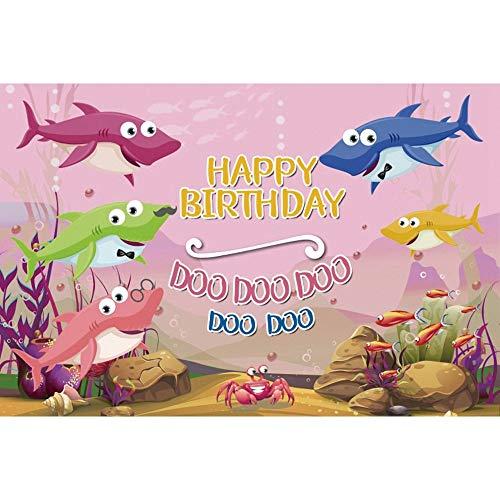 Unterwasserwelt Hai Krone Koralle Baby Geburtstag Fotografie Hintergrund Hintergründe für Fotostudio A16 10x7ft / 3x2.2m