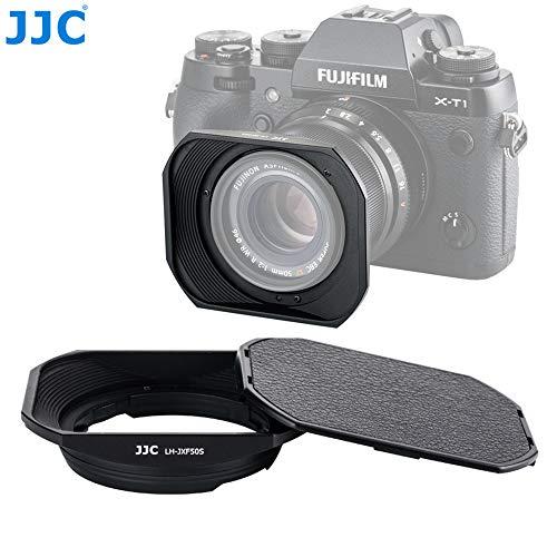 JJC LH-JXF50S Black Dedicated Square Metal Bayonet Hood for Fujinon XF50mmF2 R WR Lens, Fuji XF 50mm F/2 R Hood Shade, Compatible with Fujifilm 50 mm f2 Lense, Slide Front Cap, Aluminum Alloy