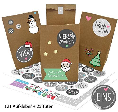 OWLBOOK Adventskalender zum Befüllen Weihnachtskalender selber basteln für Kinder Mädchen Jungen - mit 121 Aufkleber und 25 Tüten zu Weihnachten 2020 mit Grauen Wort-Zahlen