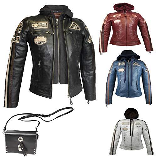 MC Murray – Chaqueta de piel para mujer – Chaqueta de moto con protecciones – Chaqueta para mujer Lh3-20-negro XS