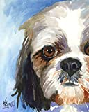 art print of Shih Tzu dog in watercolor