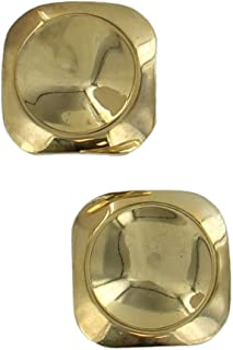 Gold Tone Crater Imprint Abstract Button Square Stud Pierced Earrings 1