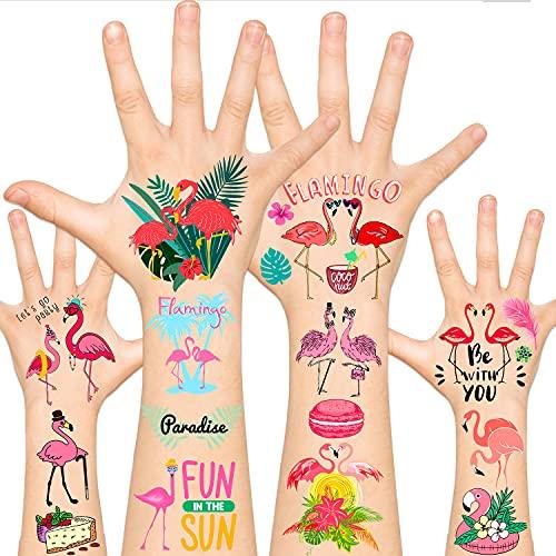 Leesgel 115pcs Flamingo Temporary Tattoos for Kids, Flamingo Party Supplies Favors Decorations Accessories, Hawaiian Tropical Summer Tattoos Sticker for Boys Girls Women Men