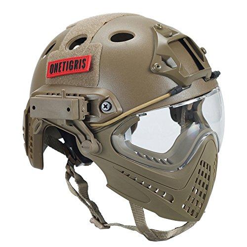 OneTigris Taktische Helm mit Maske und Schutzbrille für Softair (Khaki)