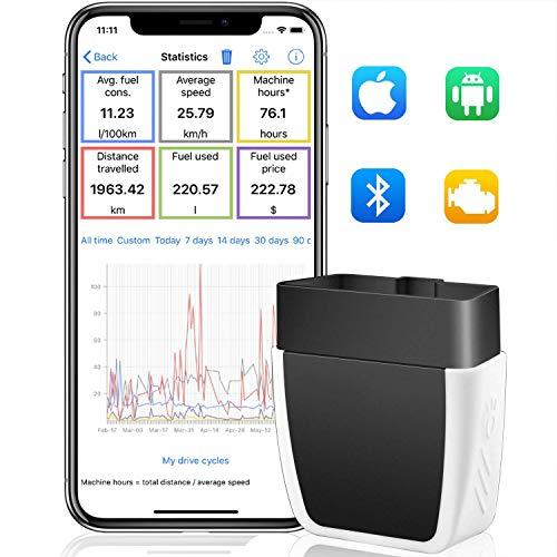 GEMWON ELM327 OBD2 Bluetooth, Escáner OBD2 Scanner Bluetooth 4.0 OBD-II Code Reader Adaptador Herramienta Diagnóstico Automático para Comprobar Motor & Información del Vehiculos(iOS Android)