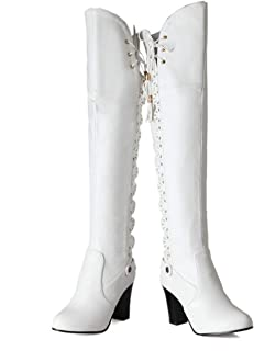 f7fcac7ed30 Amazon.com: White - Over-the-Knee / Boots: Clothing, Shoes & Jewelry