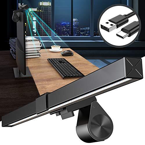 Snoky LED Schreibtischlampe USB Computer Monitor Lampe Keine Blendung Augenpflege PC Beleuchtung E-Reading Bildschirmlampe USB-C-fähige Büro Lampe 5 Modi Helligkeit Farbtemperatur Einstellbar