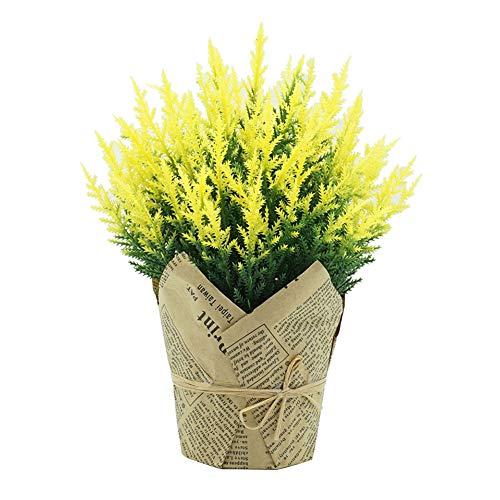 Oce180anYLVUK Flor Artificial 1pc Planta De Flor Artificial Maceta De Papel Bonsai Jardín De Bricolaje Decoración De Fiesta En Casa De La Boda Amarillo