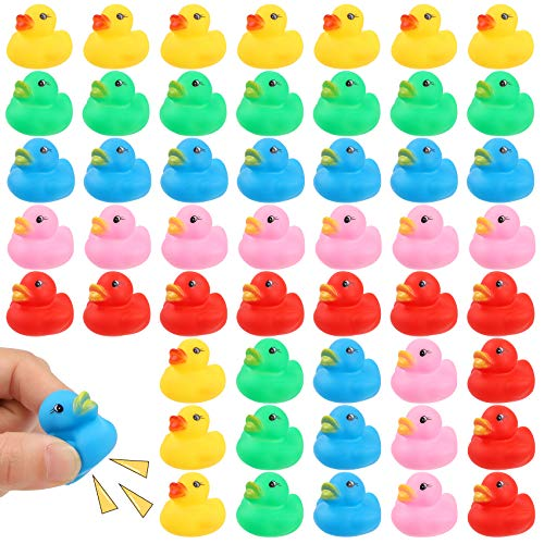 YsesoAi 50 Pcs Multicolor Mini Rubber Ducky Float Duck Baby Bath Toy, Shower Birthday Party Favors Gift (5 Colors)