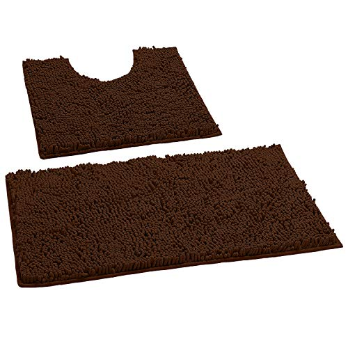 LuxUrux Bathroom Rugs Luxury Chenille 2-Piece Bath Mat Set, Soft Plush Anti-Slip Bath Rug +Toilet Mat.1'' Microfiber Shaggy Carpet, Super Absorbent