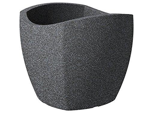 Scheurich Wave Globe Cubo, Pflanzgefäß aus Kunststoff, Schwarz-Granit, 50 cm Durchmesser, 44,4 cm hoch, 62 l Vol.